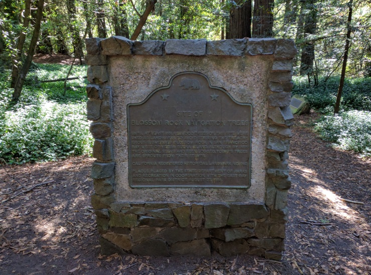 1986_Memorial_plaque_for_California_Historical_Landmark_Blossom_Rock_Navigation_Trees